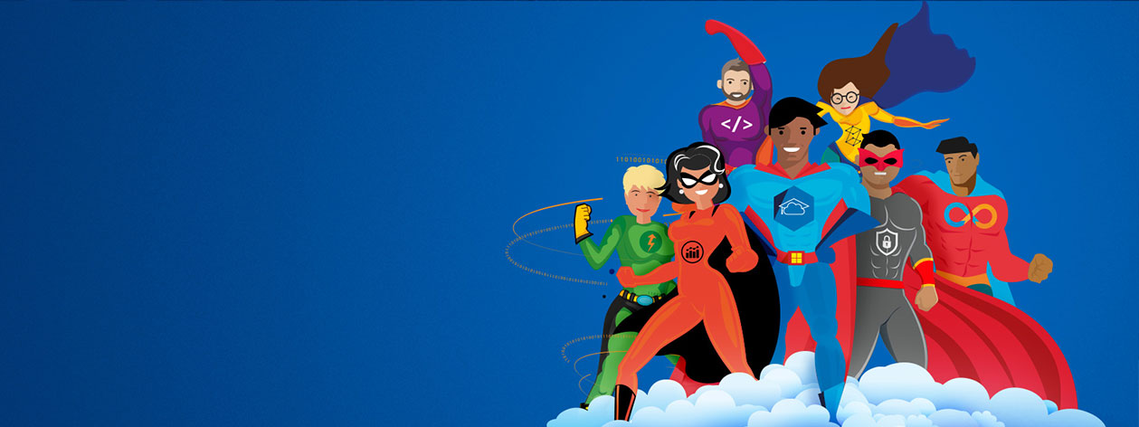 Male and female superheroes on a cloud